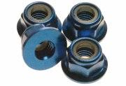 4x Stoppmutter Alu M2 blau SW 4,5mm mit Bund