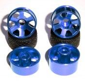 Alufelgen-Satz blau, 6-Speichen Design